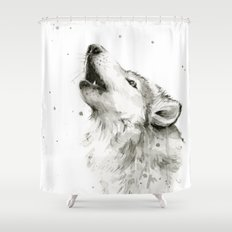 Wolf Howling Watercolor Animals Wildlife Painting Animal Portrait Shower Curtain