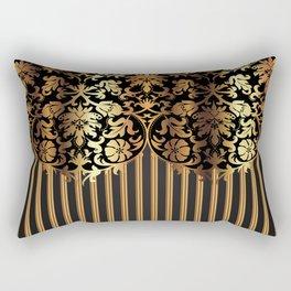 Gold and Black Damask and Stripe Design Rectangular Pillow