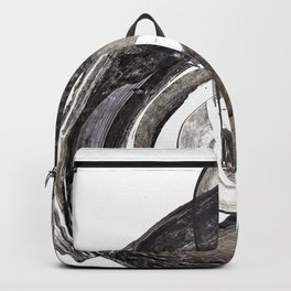 Abstract painting. Acrylic black brush strokes. Backpack