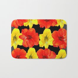 DECORATIVE RED & YELLOW AMARYLLIS FLOWERS Bath Mat