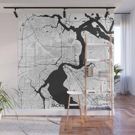 Jacksonville Map Gray Wall Mural