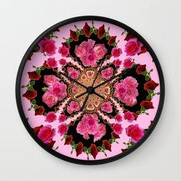 BLACK-PINK GARDEN ROSES MANDALA Wall Clock