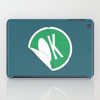 sticker iPad Cases featuring OK Sticker by Chad De Gris