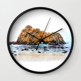 Bigsur Beach Watercolor Wall Clock