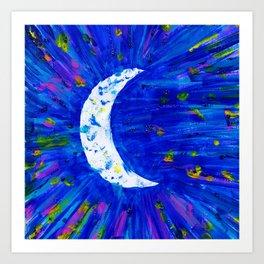 Glitter Crescent Moon Phase Art Print