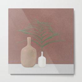 Leaf and Vases Metal Print