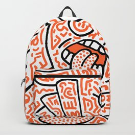 """""""The Face"""" - inspired by Keith Haring v. orange Backpack"""