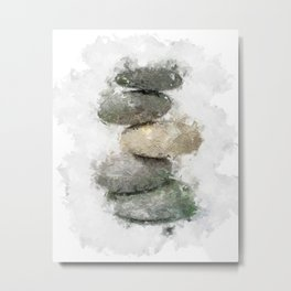 Abstract Stacked Stones 2 - soft neutrals, gray pebbles Metal Print