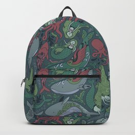Tattoo master octopus. Whales, mermaids, sharks. Backpack