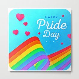 LGBT, Gay and Lesbian Quotes, Designs of Rainbows Flags and Hearts (24) Metal Print