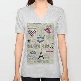 Paris, France Eiffel Tower Unisex V-Neck