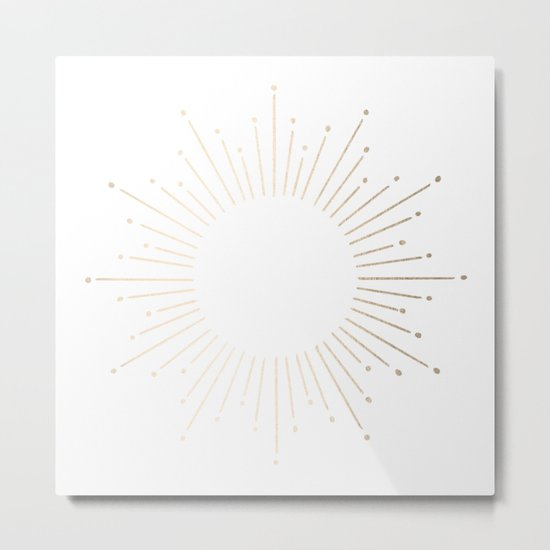 Simply Sunburst in White Gold Sands on White Metal Print