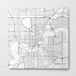 Edmonton Map, Canada - Black and White Metal Print