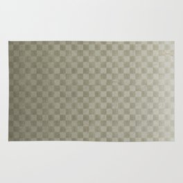 Olive Green Gingham Square Checker Board Pattern Rug