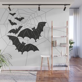 Black Bats with Spider Web Halloween Wall Mural