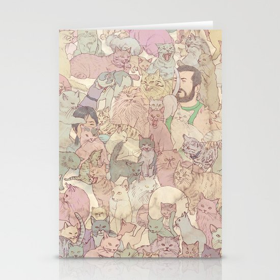 Self  Portrait with Kitties Stationery Cards