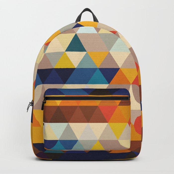 Geometric Triangle - Ethnic Inspired Pattern - Orange, Blue Backpack