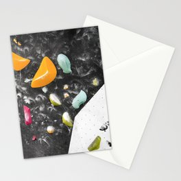 Colorful summer bouldering gym wall climbing holds girls Stationery Cards