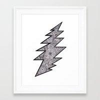 grateful dead Framed Art Prints featuring Grateful Dead lightning bolt by Gracie Holder