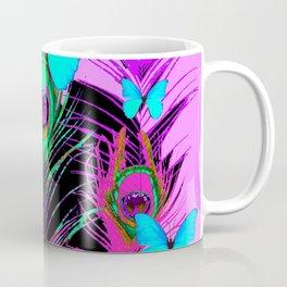 VIOLET PURPLE PEACOCK ELECTRIC BLUE BUTTERFLIES Coffee Mug