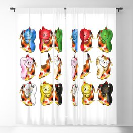 Maneki neko with lucky koi carp  Blackout Curtain