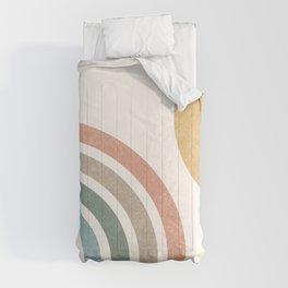 Mid Century Colorful Sun & Rainbow Comforters