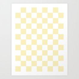 Checkered - White and Blond Yellow Art Print