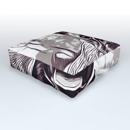 french bulldog basketball vector art black white Outdoor Floor Cushion