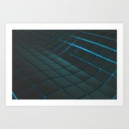 Wavy surface made of cubes Art Print