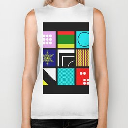 Eclectic 1 - Random collage of 9 bold colourful patterns in an abstract style Biker Tank