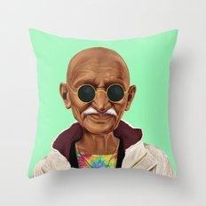 Hipstory -  mahatma gandhi Throw Pillow
