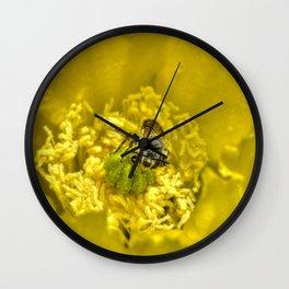 Rainy Day Cactus Flower Bee Wall Clock