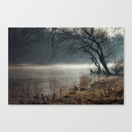 Morning fog, river and sunrise Canvas Print