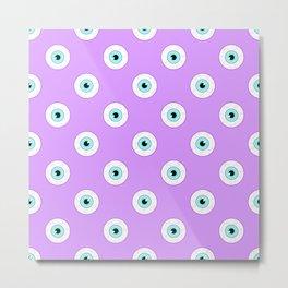 Blue Eyes on Purple Metal Print