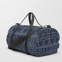 N53 - Blue Indigo Oriental Antique Traditional Moroccan Style Artwork Duffle Bag