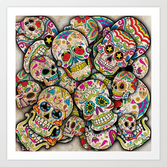 Sugar Skull Collage Art Print
