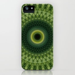 Mandala in green and yellow colors iPhone Case