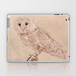 Owl Portrait - Drawing by Burning on Wood - Pyrography Art Laptop & iPad Skin