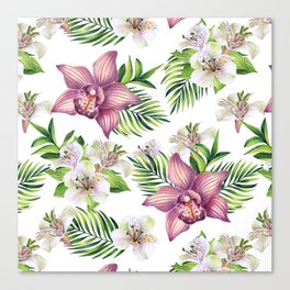 Orchids. White pattern Canvas Print