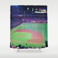 baseball Shower Curtains featuring baseball by courtneeeee