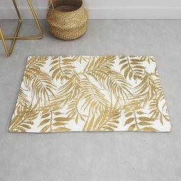Elegant tropical gold white palm tree leaves floral Rug