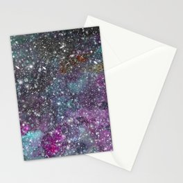 Floating in Space - Watercolor Galaxy Painting Laced with Stars Stationery Cards