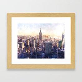 New York City Watercolor Skyline Framed Art Print