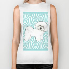 Bichon Frise at the beach / seashell blue Biker Tank