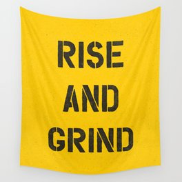 Rise and Grind black-white yellow typography poster bedroom wall home decor Wall Tapestry