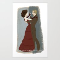 downton abbey Art Prints featuring Downton Abbey- Mary & Matthew by Bark Point Studio