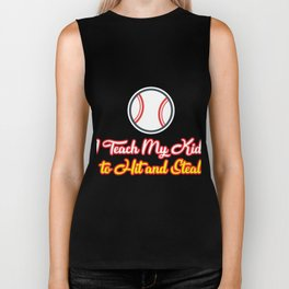 Teach Kids Hit and Steal Baseball Funny Mom Biker Tank