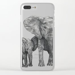 African Elephant and Calf Clear iPhone Case