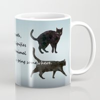 marx Mugs featuring Black cat crossing, v.2 by IvaW