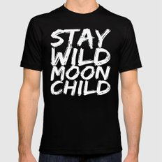 STAY WILD MOON CHILD (Black & White) Black Mens Fitted Tee MEDIUM